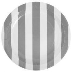 Assiette carton rayée gris blanc 23 cm les 10