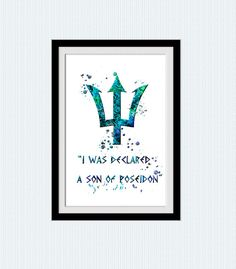 Percy Jackson print Poseidon Trident art poster by ColorfulPrint
