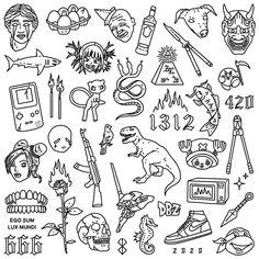 Sketch Tattoo Design, Tattoo Sketches, Tattoo Drawings, Tattoo Designs, Mini Tattoos, Cute Tattoos, Small Tattoos, Tattoo Flash Sheet, Tattoo Flash Art