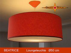 Loungeleuchte BEATRICE Ø 50 cm Pendelleuchte mit Diffusor und Baldachin Orange. Schlicht und ergreifend: Ein sonniges Orange bringt wunderbare Entspannung