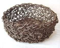 Fisherman Knot Rope Wire Baskets Basket Two Handle Blue White ...