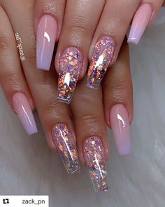 cute acrylic nails 40 Fabulous Nail Designs That Are Totally in Season Right Now - nail art designs,almond nail art design, acrylic nail art, short nail designs with glitter Nail Design Glitter, Cute Acrylic Nail Designs, Best Acrylic Nails, Cute Acrylic Nails, Clear Nail Designs, Pink Nail Designs, Clear Nails With Glitter, Glitter Ombre Nails, Coffin Nail Designs