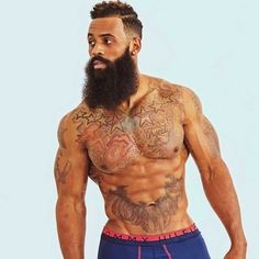 Black Bearded Men Don't like tattoos but he is handsome; Fine Black Men, Gorgeous Black Men, Handsome Black Men, Fine Men, Beautiful Men, Black Man, Sexy Bart, Black Men Beards, Black Men Tattoos