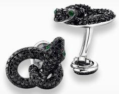 Asprey Cufflinks - Designed by Angelina Jolie & Brad Pitt, White Gold & Black Diamonds.