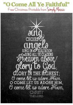Free Chalkboard Christmas Printable O Come All Ye Faithful