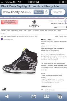 Liberty x Nike wedge dunks Sneaker Wedges, Nike Wedges, Wedge Sneakers, Liberty X, Liberty Print, Sky High, Women's Accessories, Nike Men, Printing On Fabric