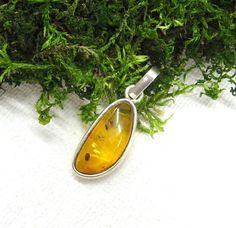 Genuine Baltic Amber pendant sterling silver amber by SanaGem