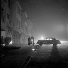 foggy night at land's end, 1953 • fred lyon. There's a murder about to happen...a very stylish, 1950s murder.