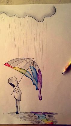 Rainbow Rain - # Rain # Rainbow # Drawing - Best pins - Drawing Still 2020 Sad Drawings, Cool Art Drawings, Pencil Art Drawings, Art Drawings Sketches, Beautiful Drawings, People Drawings, Drawing Ideas, Disney Drawings, Beautiful Pictures