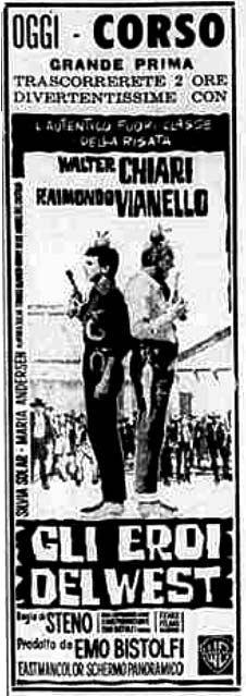 """""""Gli eroi del West"""" (1964) di Steno (Stefano Vanzina), con Walter Chiari e Raimondo Vianello. Italian release: January 4, 1964 #MoviePosters #WesternMovies #WalterChiari #RaimondoVianello"""