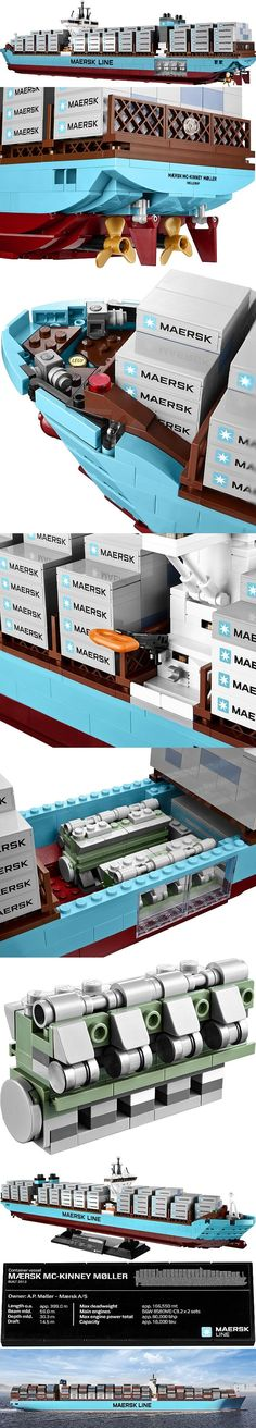 "LEGO 10241 - Maersk Line Triple-E / The name ""Triple E"" is derived from the class's three design principles: ""Economy of scale, Energy efficient and Environmentally improved"". These ships are expected to be not only the world's longest ships in service, but also the most efficient container ships per twenty-foot equivalent unit (TEU) of cargo. #PinYourResolution"
