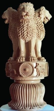 'Lion Capital of Ashoka', ca. 250 BCE, polished sandstone statue, Ancient Indian Empire. The Lion Capital is from one of the Pillars of Ashoka (304-232 BCE), which he erected to commemorate his leadership. The Lion Capital is undoubtedly famous that even modern India uses it as the national emblem. It is commonly believed that the Indian lions are a symbol of versatile strength, and the reversed lotus at the bottom represents harmony in Buddhism's sense.