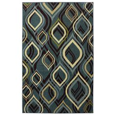 $98 Shop Style Selections Pedrin 60-in x 8-ft Rectangular Blue Geometric Area Rug at Lowes.com