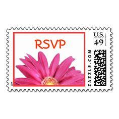 Pink /Coral Gerbera Daisy RSVP Wedding Postage Postage Stamp