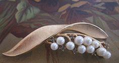 Vintage Crown TRIFARI Pearl & Rhinestone Gold  by CornermouseHouse, $22.00