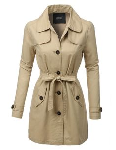 LE3NO Womens Classic Long Sleeve Trench Coat with Belt