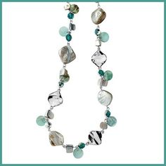 """Lia Sophia """"Ocean Air""""  Necklace LiaSophia """"Ocean Air"""" -Appropriately named-made from genuine abalone & mother of pearl with bluefish-green glass beads. Measures 43 -46"""". This necklace has been worn a few times and is in great condition. A good quality necklace. Can be worn long or double-wrapped for a shorter necklace. Rhodium plated to enhance the scratch resistance of the surface while giving it a brilliant reflective appearance. CARE:  Use a soft cloth & water.  Do not use soap or…"""