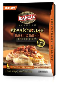 Idahoan Steakhouse Bacon & Ranch Red Potatoes start with world-famous Idaho® red potatoes in a premium ranch sauce, then finish with a real bacon topping! These Steakhouse Bacon & Ranch Red Potatoes will add premium restaurant quality flavor to any meal. Gotta love real bacon! And that it's gluten free!