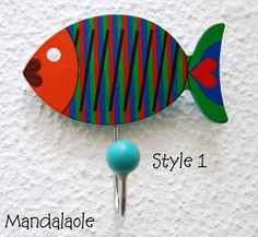 Kinetic painted colorful fishes hook homer decor by Mandalaole