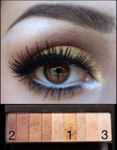 Use the Physicians Formula Shimmer Strips in Warm Nude to recreate this look. 1. Use the gold shade all over the lid. 2. Deepen the crease with the darkest color. 3. Highlight with the lightest color.