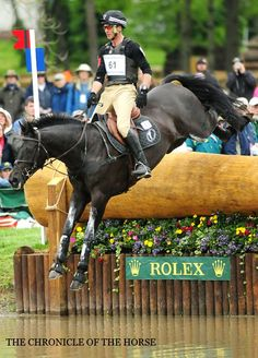 Andrew Nicholson (NZL) competing, and gaining 1st and 2nd, in the Rolex Kentucky almost one handed!