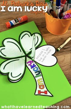 """A fun St. Patrick's Day craftivity where students reflect on what makes them """"lucky"""". The power of reflection is huge. Teach students the art of reflection. A great growth mindset project."""