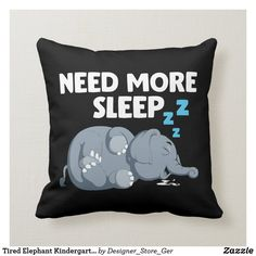 Shop Tired Elephant Kindergarten Kid Zoo Animal Bedtime Throw Pillow created by Designer_Store_Ger. Custom Pillows, Decorative Throw Pillows, Kindergarten Kid, Kids Word Search, Elephant Throw Pillow, Kids Zoo, Zoo Animals, Crochet Gifts, House Colors