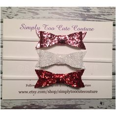 Pink White Red Chunky Glitter Bow Nylon by SimplyTooCuteCouture