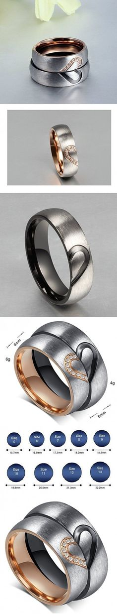 "Aegean Jewelry Titanium Couple Fashion Wedding Band Ring ""We Are a Perfect Match"" Love Style with a Gift Box and a FREE Small Gift (WOMEN'S, 8)"