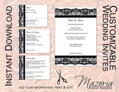 DIY Wedding Invite set TEMPLATE Instant Download printable (black lace 5X7 with 3 cards)