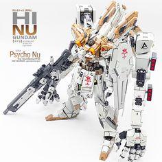 Custom Build: MG Custom [pps] - Hi Nu Gundam Powered Psycho System 3d Figures, Action Figures, Graffiti Doodles, Frame Arms Girl, Gundam Custom Build, Gundam Art, Gundam Model, Mobile Suit, Cyberpunk