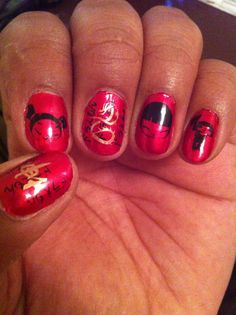 Chinese design with Shany Stamping Plates Colors Red, Gold and Black nail polish!!