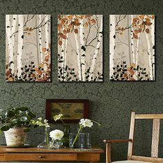 Canvas Set Botanical Three Panels Horizontal Print Wall Decor Home Decoration Tree Canvas, Diy Canvas Art, Canvas Artwork, 3 Piece Canvas Art, Large Canvas Art, Birch Tree Art, Tree Wall Art, Three Canvas Painting, Acrylic Art
