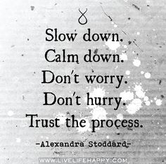 Slow down. Calm down. Trust the process. -Alexandra Stoddard Slow down. Calm down. Trust the process. Words Quotes, Me Quotes, Motivational Quotes, Inspirational Quotes, Sayings, Famous Quotes, Positive Quotes, Great Quotes, Quotes To Live By
