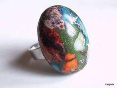 Bague en Jaspe sédimentaire multicolore sur anneau réglable argenté : Bague par fangiella