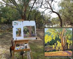 Started painting a leaf and got a bit carried away. Darling River in NSW. Studio painting from plein air study is inset.  See and buy it in my gallery at www.bit.ly/MH-River  See my paintings for sale at www.bit.ly/shop-mh  #landscape #artist #landscapeart #oiloncanvas #australianlandscape #australianlandscapepainting #australianlandscapes #enpleinair #pleinairpainting #pleinair #artforsale #in #artcollector #artcollectors #artdealer #artsales #paintingsforsale #instagramart #beautiful…