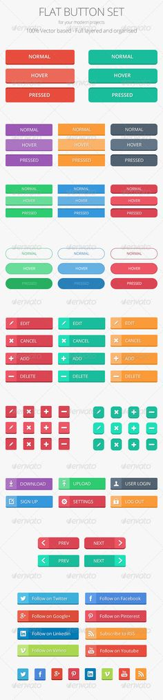 Flat Button Set for your modern projects. 100% Vector based. Full layered and organised. #flatui #button #webbutton #flatdesign #buttonset #psd #png #ui #uikit #socialmedia #flat
