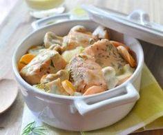 Blanquette de saumon, sauce au roquefort