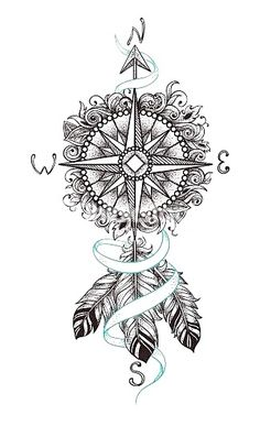 Sets compass and feathers temporary tattoos tattoo designs 2019 - Tattoo designs - Dessins de tatouage Tatoo Art, Body Art Tattoos, Tattoo Drawings, New Tattoos, 3 Tattoo, Tatoos, Tattoo Thigh, Tattoo Quotes, Tattoo Small