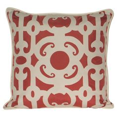 Outdoor pillow with a tribal fretwork motif in terracotta.  Product: PillowConstruction Material: Polyester