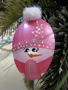 Hand Painted Spoon Snowman Snowgirl With Pink by YewtinselsNSilver