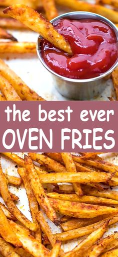 Easy Oven Fries Recipe – perfectly seasoned french fries, baked in the oven, crispy on the outside, soft on the inside. Oven Baked French Fries, Crispy French Fries, Baked Potato Fries, Baked Potatoes, Baked Fries Recipe, Best Fries Recipe, Cheesy Potatoes, Best Potatoes For Fries, Recipe For Oven Fries