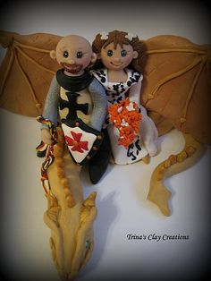 Dragon Wedding Cake Topper by Trina's Clay Creations