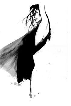 Fashion illustration - stylish black and white fashion drawing // Jessica Durrant