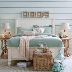 Get inspired by Coastal Bedroom Design photo by Wayfair. Wayfair lets you find the designer products in the photo and get ideas from thousands of other Coastal Bedroom Design photos. Decor, Bedroom Themes, Home Bedroom, Beach House Decor, Home Decor, Beachy Bedroom, House Interior, Coastal Living Rooms, Bedroom Decor