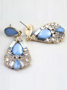 #BLUE #FACETED #GEM #DROP #DANGLE #EARRINGS