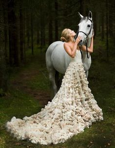 fantasy gown, horse, forest