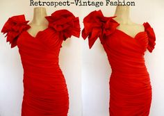 Vintage PROM DRESS 80's prom dress RED cocktail dress Vintage party dress size small // 80's vintage Avant Garde dress by ShopRVF on Etsy