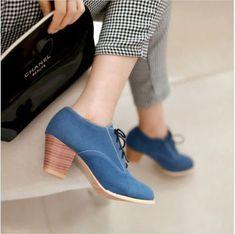 Vintage Women's Suede Lace Up Block Mid Heels Shoes Oxfords Pumps Plus Size B113