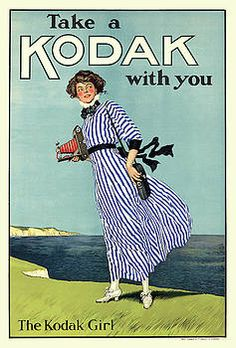 The iconic Kodak girl, in her blue and white stripped dress, became synonymous with Kodak products. From the Kodak Corporate Archive and Heritage Collection at Ryerson University Library and Archives. Vintage Advertising Posters, Vintage Advertisements, Vintage Ads, Vintage Posters, Vintage Style, Retro Ads, Vintage Beauty, History Of Photography, Vintage Photography